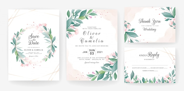 Wedding invitation card template set with leaves, small flowers