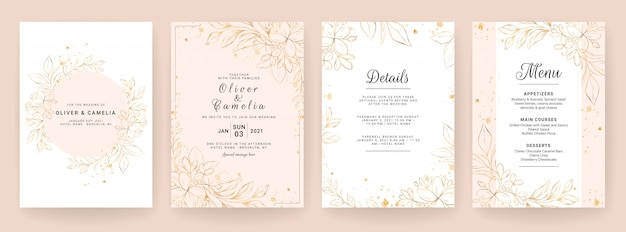 Wedding invitation card template set with line art floral decoration. abstract background save the date, invitation, greeting card, multi-purpose