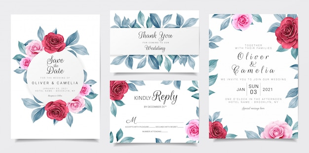 マルーンとネイビーの水彩花装飾入り結婚式招待状カードテンプレート