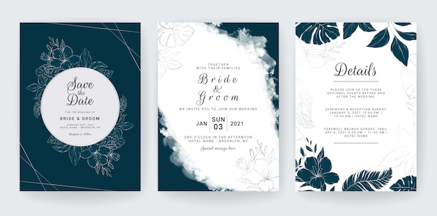 Wedding invitation card template set with navy and line floral decoration