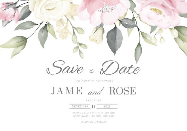 결혼식 초대 카드 템플릿 분홍색과 흰색 장미 수채화 그림으로 설정