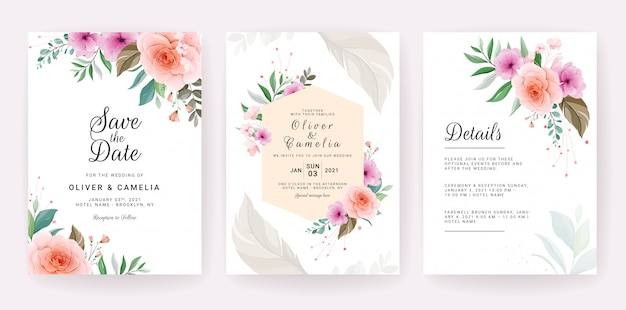 Wedding invitation card template set with rose, anemone flowers, and leaves