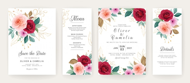 Wedding invitation card template set with roses, anemone flowers, and leaves