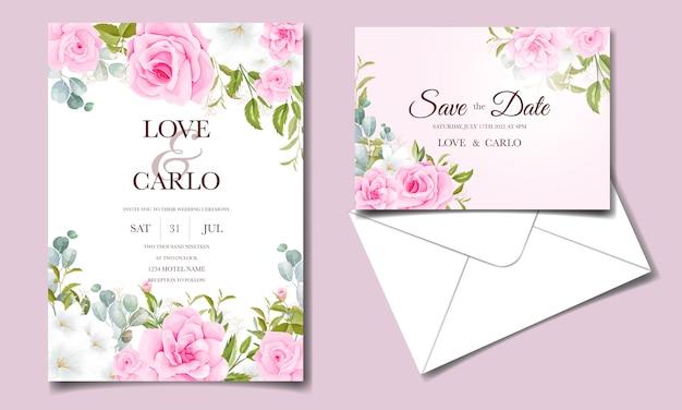 Свадебный пригласительный шаблон с мягкими розовыми цветочными украшениями