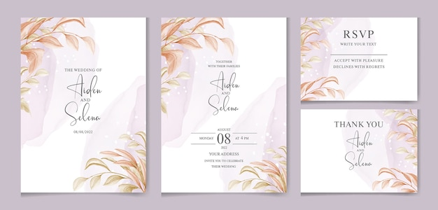 Wedding invitation card template set with soft purple watercolor splash and beautiful leaves