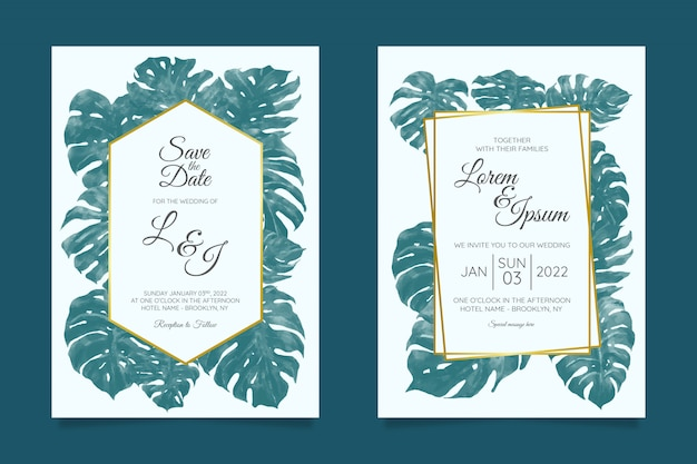 Wedding invitation card template set with tropical floral frame