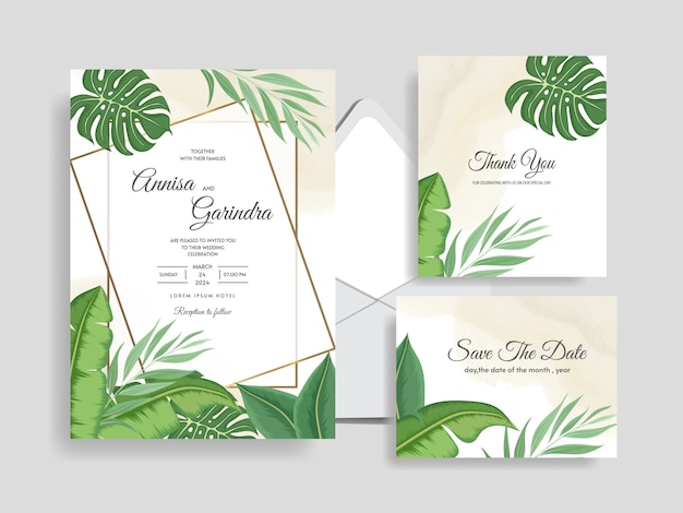 Wedding invitation card template set with tropical leaves decoration premium