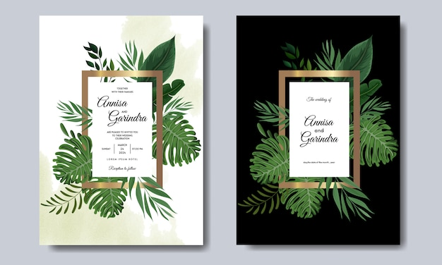 Wedding invitation card template set with tropical leaves decoration