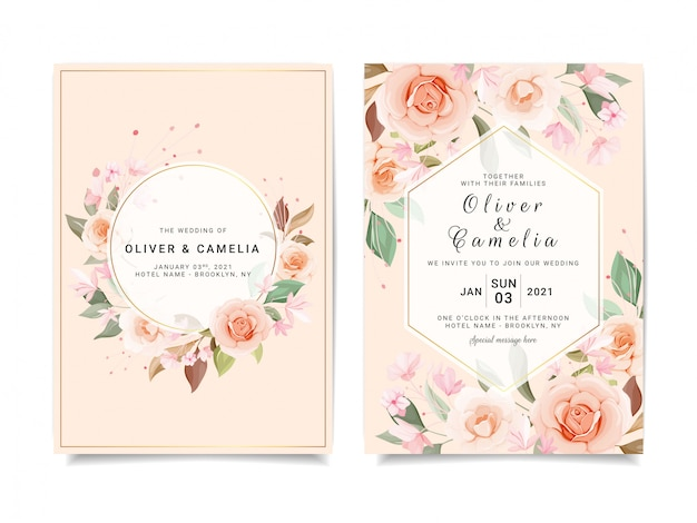 Wedding invitation card template set with various floral
