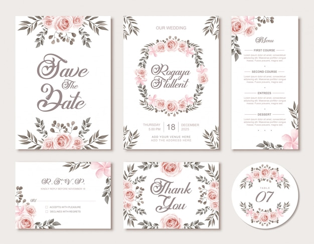 Wedding invitation card template set with vintage watercolor floral style