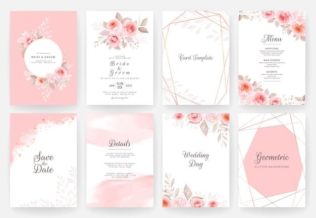 Свадебный шаблон пригласительного билета установлен с акварелью и цветочным художественным оформлением. цветы иллюстрация
