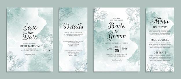 水彩画の背景と手描きの花の装飾が設定された結婚式の招待カードテンプレート