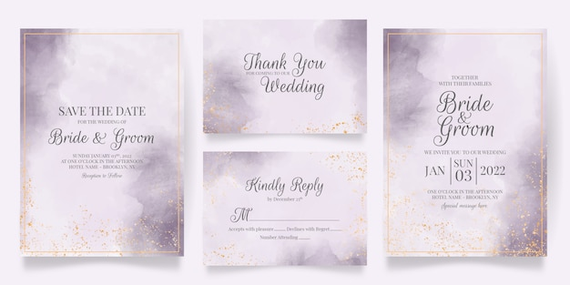 Wedding invitation card template set with watercolor decoration