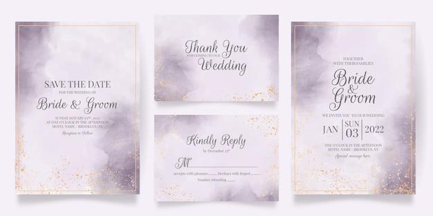 水彩画の装飾が施された結婚式の招待カードテンプレート