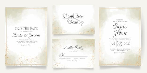 수채화 장식으로 설정 결혼식 초대 카드 템플릿