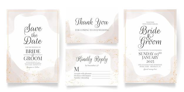 Шаблон свадебного приглашения с акварельными украшениями