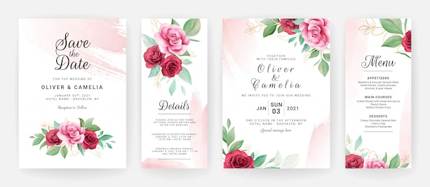 Wedding invitation card template set with watercolor floral and blush brush stroke