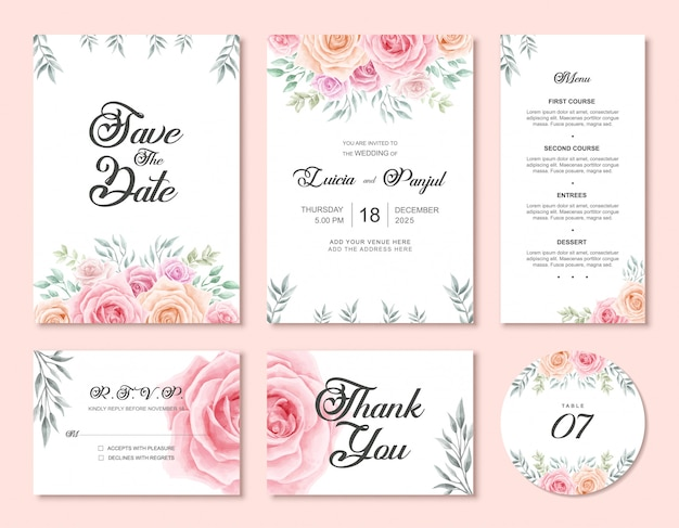 Wedding invitation card template set with watercolor floral flower