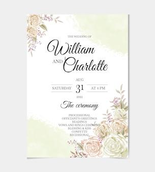 水彩花柄の結婚式の招待カードテンプレートセット