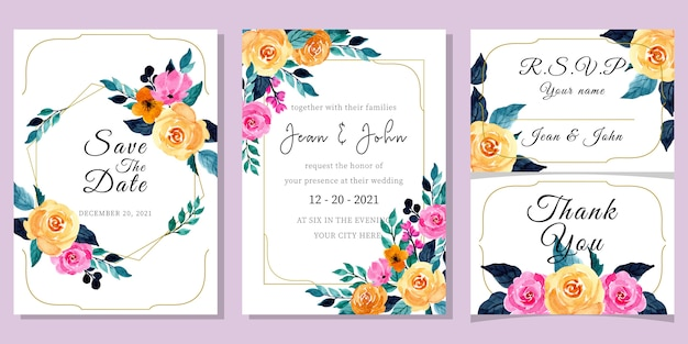 Wedding invitation card template set with watercolor floral