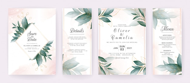 Wedding invitation card template set with watercolor gold leaves decoration.