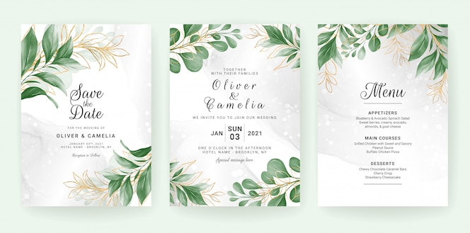 Wedding invitation card template set with watercolor leaves decoration.