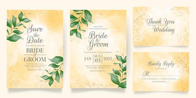 結婚式の招待カードテンプレートセット水彩葉装飾