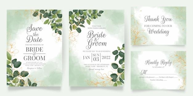 수채화 잎 장식 설정 결혼식 초대 카드 템플릿