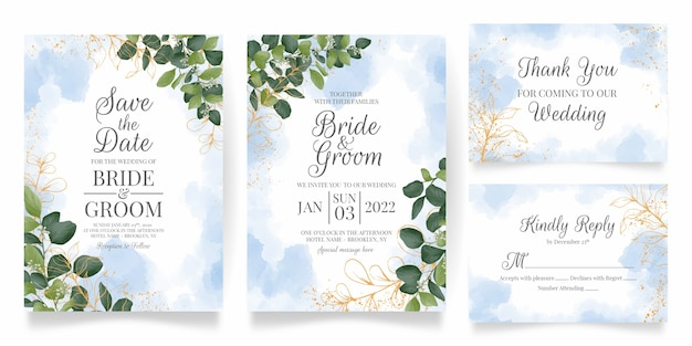 Wedding invitation card template set with watercolor leaves decoration