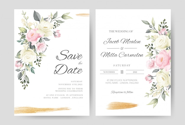 Wedding invitation card template set with watercolor pink and white rose gold brush.