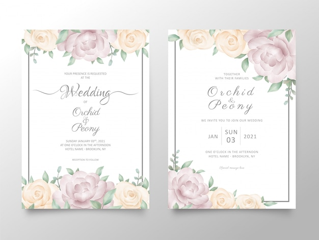 Wedding invitation card template set with watercolor roses and peonies flowers
