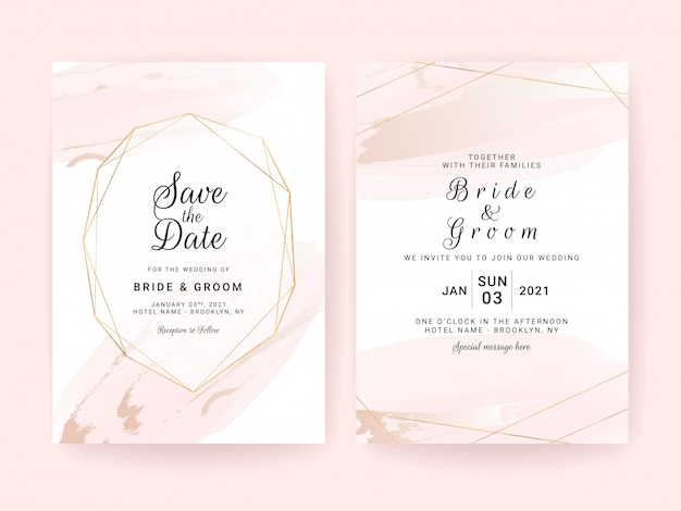Wedding invitation card template set with watercolor splash and geometric frame.