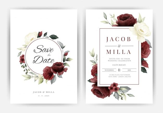 결혼식 초대 카드 템플릿 흰색과 붉은 장미 꽃 수채화 화 환 휴가 설정