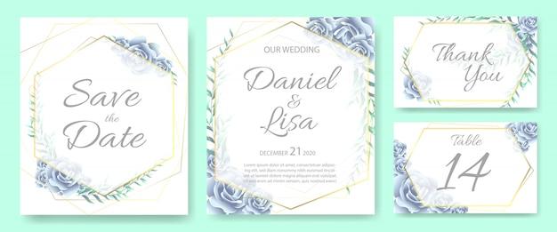 Wedding invitation card template set