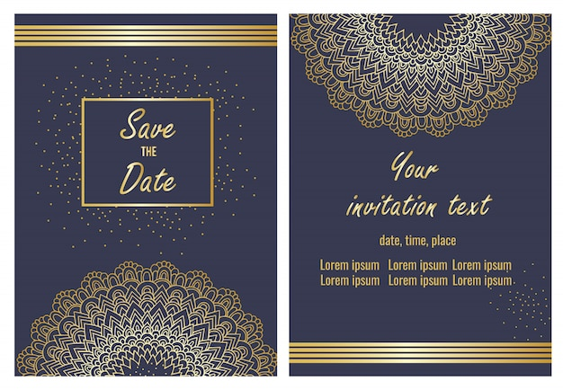 Wedding invitation card template set
