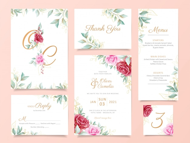 Wedding invitation card template suite with elegant flowers and gold decoration