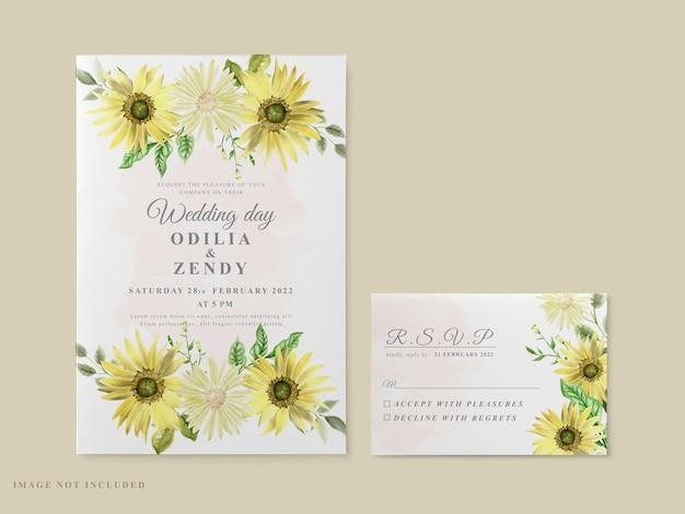 Wedding invitation card template sunflower theme