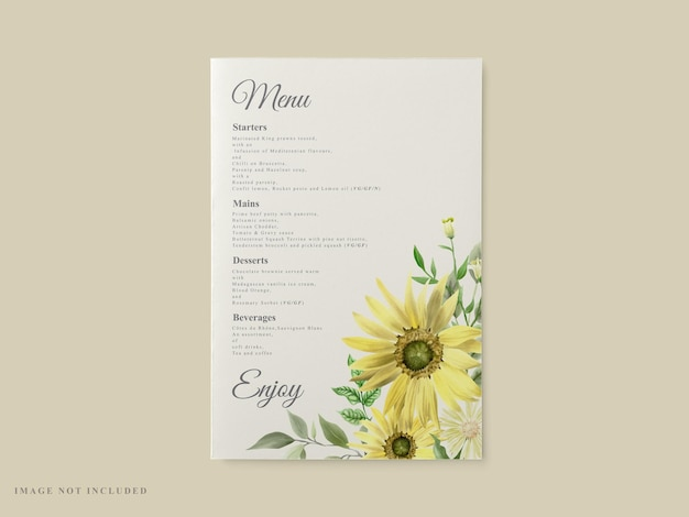 Wedding invitation card template sunflower theme