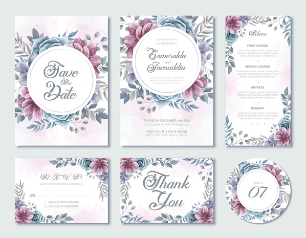 Wedding invitation card template watercolor floral