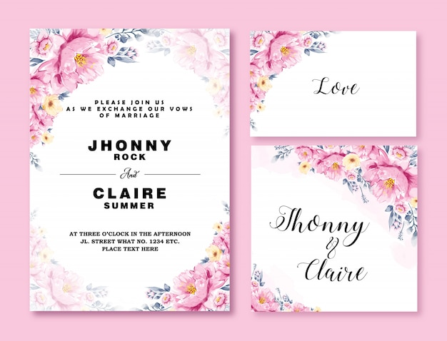 Wedding invitation card template watercolor flower