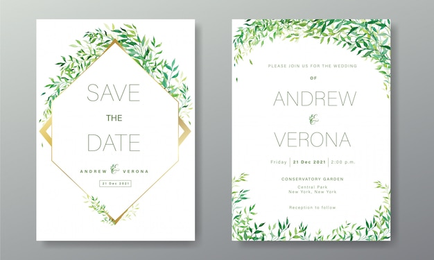 Wedding invitation card template in white green color theme decorated with floral in watercolor style