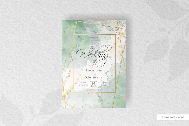 Wedding invitation card template with abstract watercolor splash