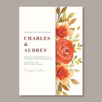 秋の花の水彩画と結婚式の招待カードのテンプレート