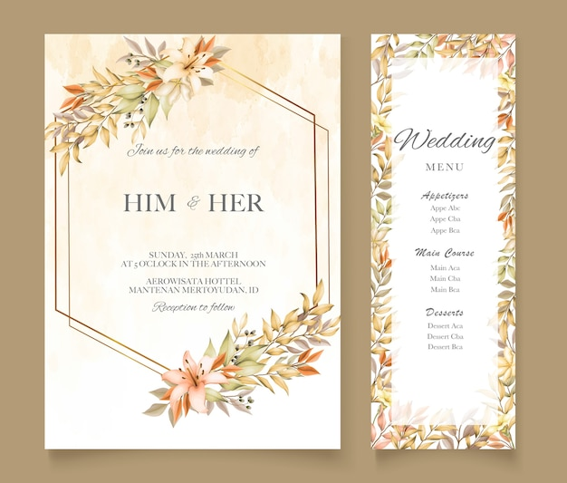 단풍 결혼식 초대 카드 서식 파일