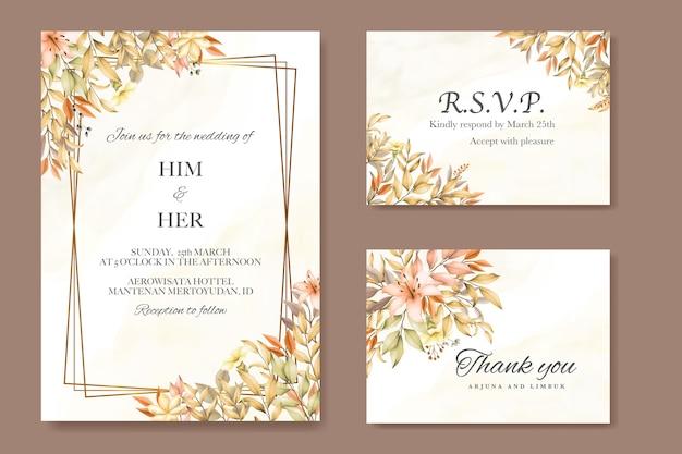 紅葉の結婚式の招待カードテンプレート