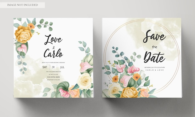 Wedding invitation card template with beautiful blooming colorful floral