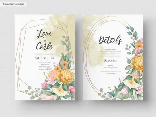 美しい咲くカラフルな花の結婚式の招待カードのテンプレート