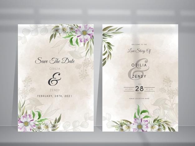 Wedding invitation card template with beautiful daisy flower illustration