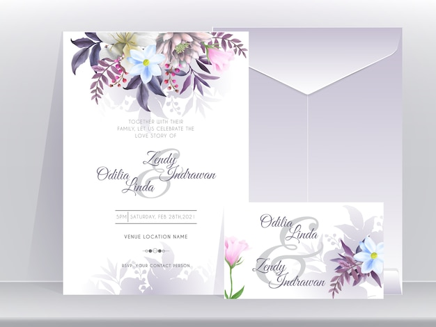 Wedding invitation card template with beautiful and elegant floral purple edition