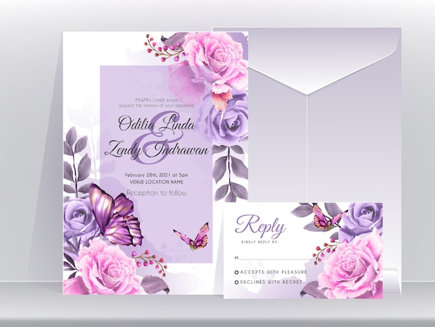 Wedding invitation card template with beautiful and elegant floral purple edition Premium Vector